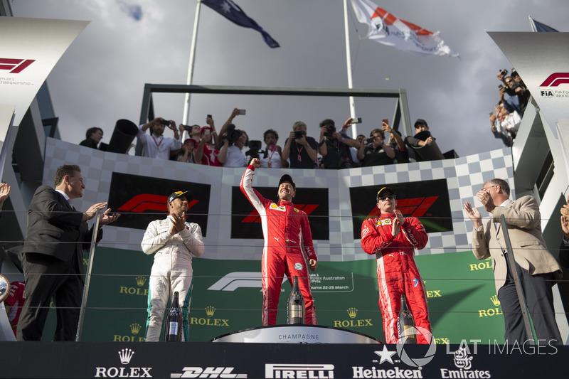 Australie - Podium : Sebastian Vettel, Lewis Hamilton, Kimi Räikkönen