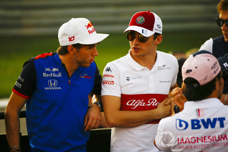 Brendon Hartley, Toro Rosso, and Charles Leclerc, Sauber, in the drivers parade