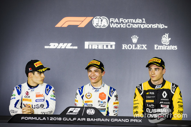Press Conference: Sergio Sette Camara, Carlin, Lando Norris, Carlin, Artem Markelov, RUSSIAN TIME