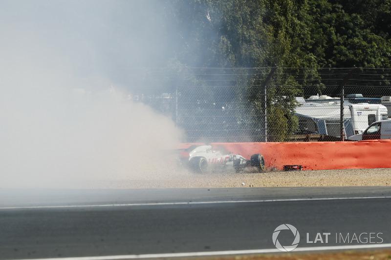 L'incidente di Romain Grosjean, Haas F1 Team VF-18