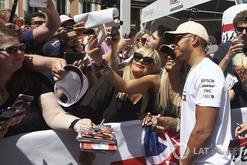 Lewis Hamilton, Mercedes AMG F1, poses for pictures