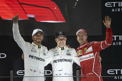 Podium: Second place Lewis Hamilton, Mercedes AMG F1, Race winner Valtteri Bottas, Mercedes AMG F1, third place Sebastian Vettel, Ferrari