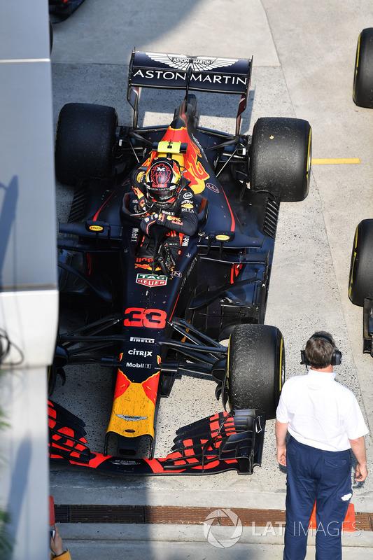 Max Verstappen, Red Bull Racing RB14 dans le Parc Fermé