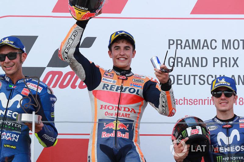 1º Marc Marquez, 2º Valentino Rossi, 3º Maverick Viñales