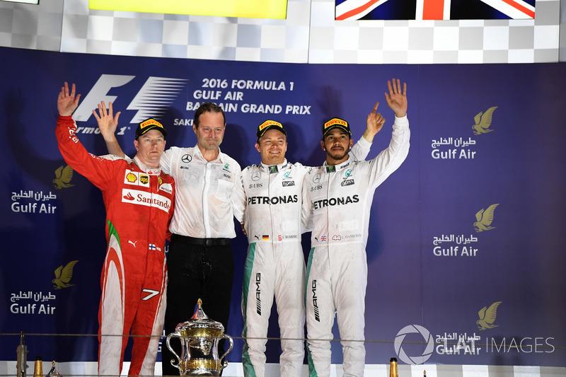 Podium: 1. NIco Rosberg, Mercedes; 2. Kimi Raikkonen, Ferrari; 3. Lewis Hamilton, Mercedes