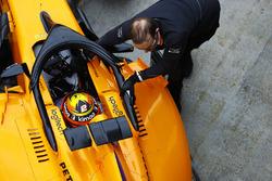 Stoffel Vandoorne, McLaren MCL33, is pushed into his pit