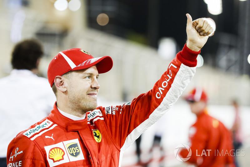 Sebastian Vettel, Ferrari, celebrates pole after Qualifying