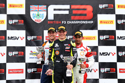 Podium: race winner Linus Lundqvist, Double R, second place Nicolai Kjaergaard, Carlin, third place Kush Maini, Lanan Racing