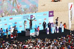 Jean-Eric Vergne, Techeetah, Lucas di Grassi, Audi Sport ABT Schaeffler, Sam Bird, DS Virgin Racing, spray the champagne on the podium