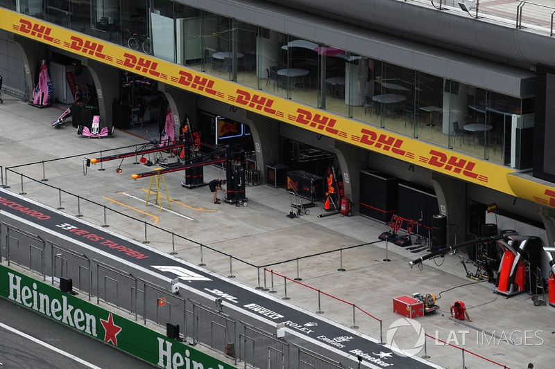 Ferrari garage and pit lane