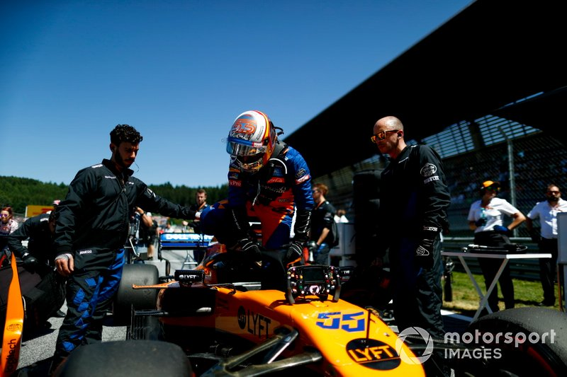 Carlos Sainz Jr., McLaren, on the grid