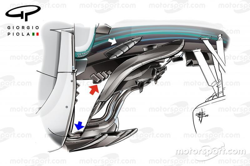 El bargeboard del Mercedes F1 W09 bargeboard en Monza
