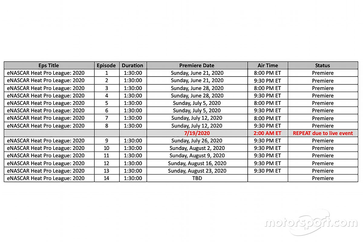 eNASCAR Heat Pro League MAVTV Schedule