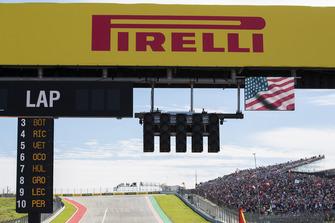 Pirelli hoarding above the start lights
