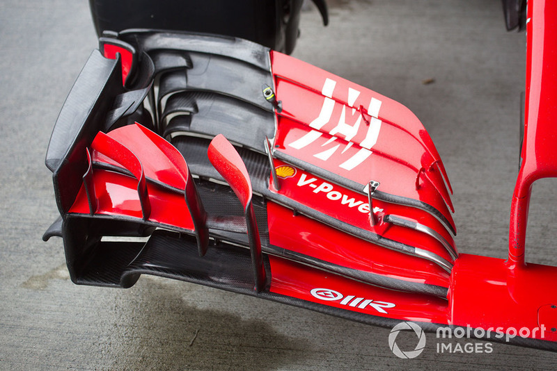 Front wing of Ferrari SF71H with new livery