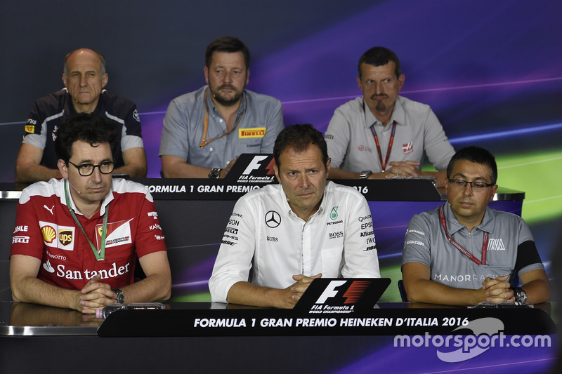 The FIA Press Conference (from back row (L to R)): Franz Tost, Scuderia Toro Rosso Team Principal; Paul Hembery, Pirelli Motorsport Director; Guenther Steiner, Haas F1 Team Principal; Mattia Binotto, Ferrari Chief Technical Officer; Aldo Costa, Mercedes AMG F1 Engineering Director; Luca Furbatto, Manor Racing Head of Design