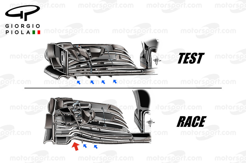 McLaren MP4/31 front wings comparison, captioned, United States GP