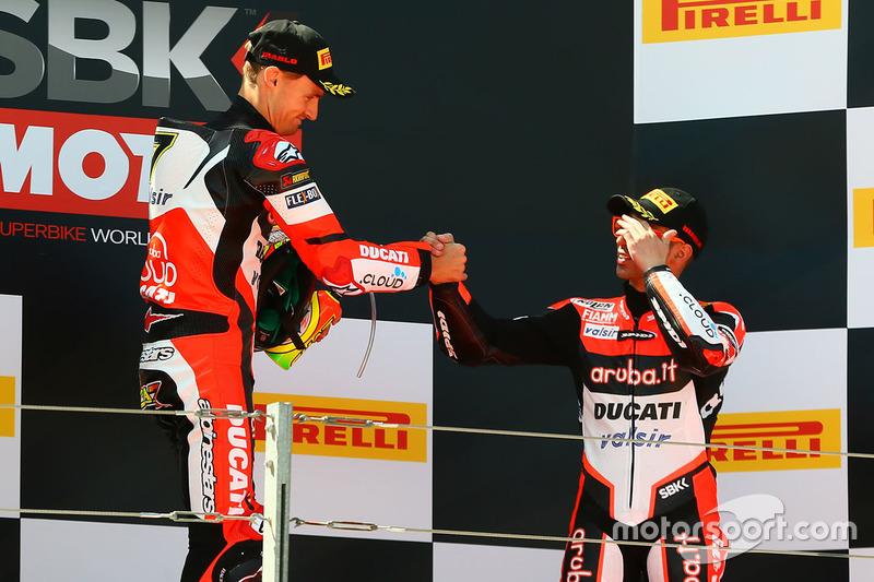 Podium: race winner Chaz Davies, Ducati Team, third place Marco Melandri, Ducati Team