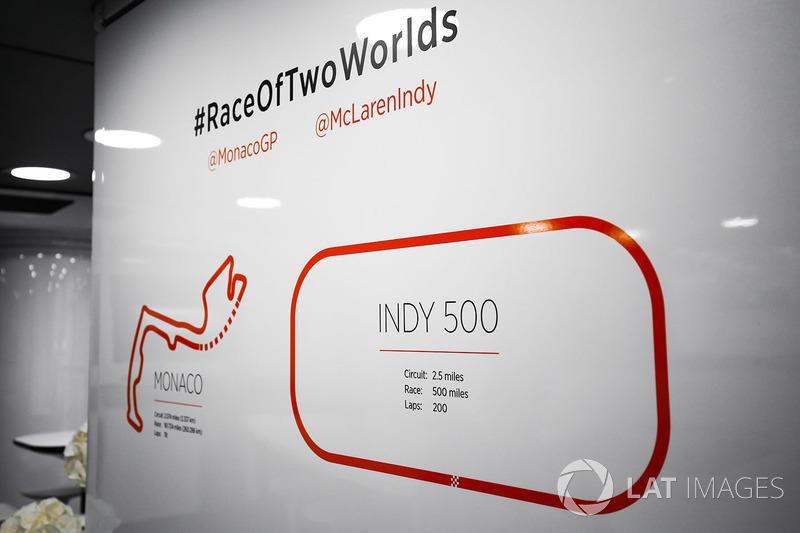 Гран Прі Монако. Мапи Монако та Індіанаполісу у боксах McLaren
