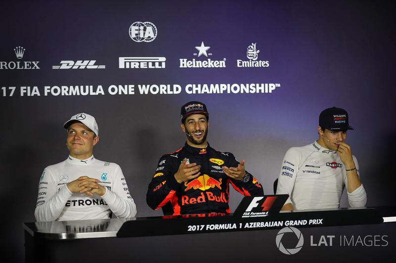 1. Daniel Ricciardo, Red Bull Racing; 2. Valtteri Bottas, Mercedes AMG F1; 3. Lance Stroll, Williams