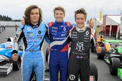 Il vincitore della gara Robert Shwartzman, Josef Kaufmann Racing, Max Defourny, R-ace GP, Sacha Fenestraz, Josef Kaufmann Racing