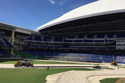 The circuit is paved inside Marlins Stadium