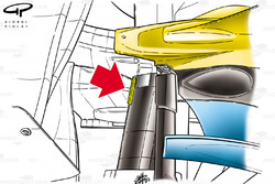 Renault R23 rear suspension gurney (highlighted in yellow)