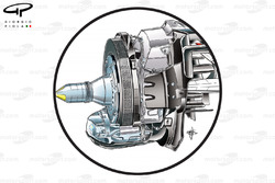 Red Bull RB8 rear brake assembly (note the use of 5 drill holes across the face of the disc)