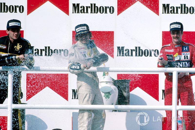 O pódio do GP da Hungria de 1986: 1. Nelson Piquet, 2. Ayrton Senna, 3. Nigel Mansell.