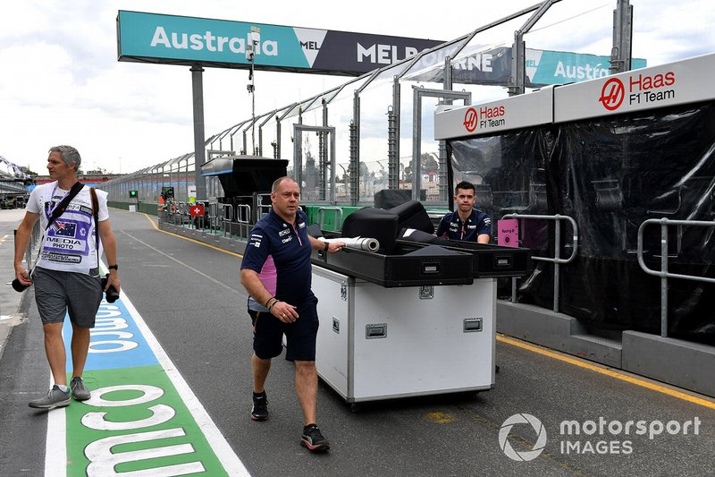 Racing Point personnel pack away equipment
