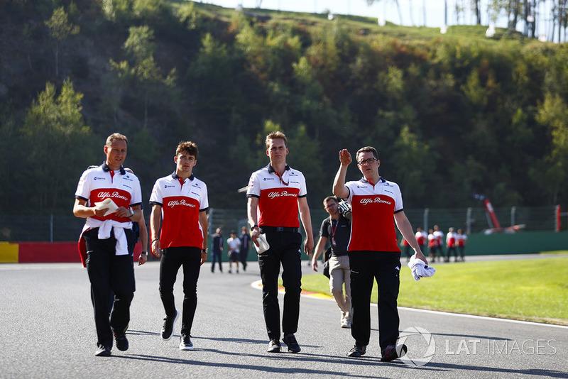 Charles Leclerc, Sauber, walks the track