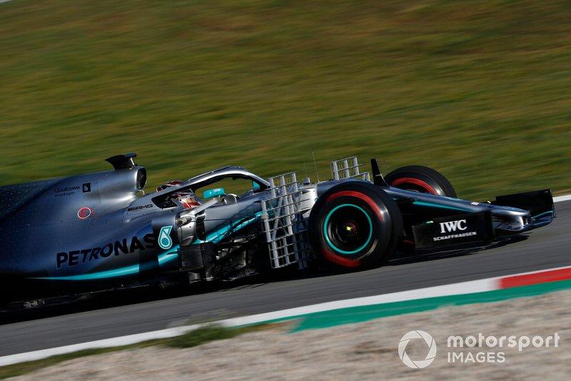 Lewis Hamilton, Mercedes-AMG F1 W10 with aero sensors