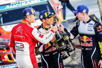 Winners Sébastien Loeb, Citroën World Rally Team Citroën C3 WRC with Sébastien Ogier, M-Sport Ford WRT and Elfyn Evans, M-Sport Ford WRT