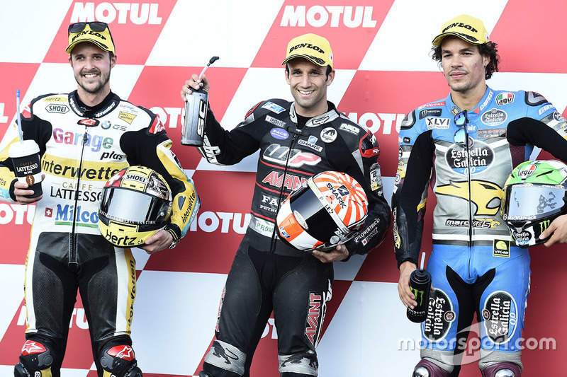 Polesitter Johann Zarco, Ajo Motorsport, second place Thomas Lüthi, Interwetten, third place Franco Morbidelli, Marc VDS