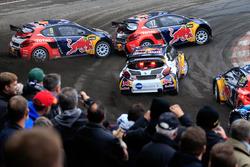 Davy Jeanney, Team Peugeot Hansen; Sébastien Loeb, Team Peugeot Hansen; Kevin Hansen, Peugeot Hansen