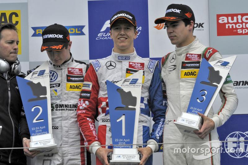 Podium: second place Joel Eriksson, Motopark Dallara F312 – Volkswagen; Winner Ben Barnicoat, HitechGP Dallara F312 – Mercedes-Benz; third place Stroll, Prema Powerteam Dallara F312 – Mercedes-Benz