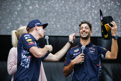Max Verstappen, Red Bull, Daniel Ricciardo, Red Bull Racing, on the F1 stage