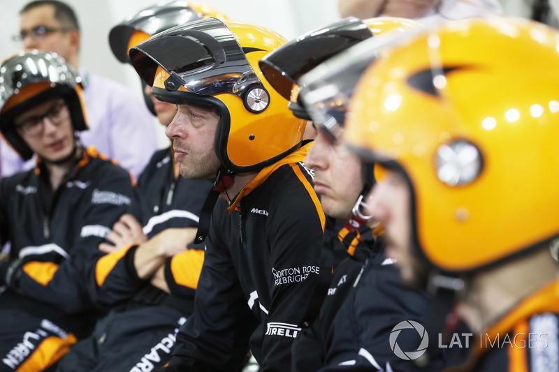The McLaren pit crew at rest