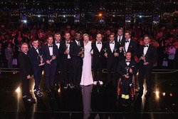 The Laureus Award winners with Prince Albert II of Monaco and his wife Charlene,Princess of Monaco, Toto Wolff, Executive Director Mercedes AMG F1