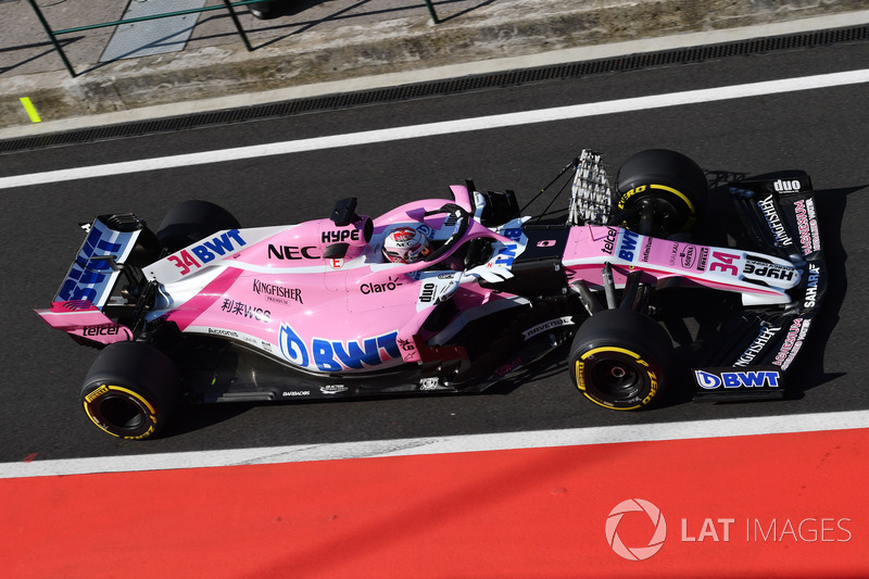 Nicholas Latifi, Force India VJM11, con parrillas aerodinámicas