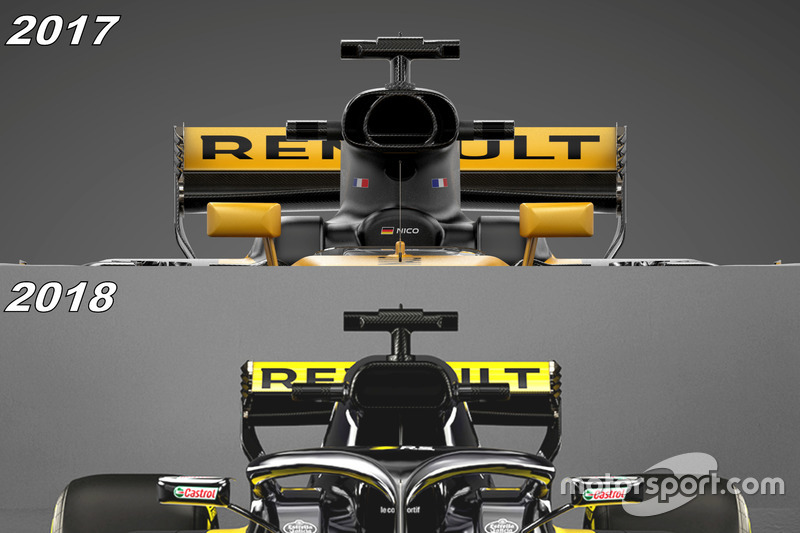 Renault RS18 vs. RS17: Airbox, Vergleich