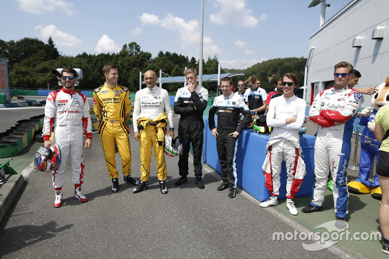 Drivers arrive for a karting special event