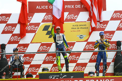 Podium: Race winner Valentino Rossi, Yamaha; second place Jorge Lorenzo, Yamaha; third place Colin Edwards, Tech 3