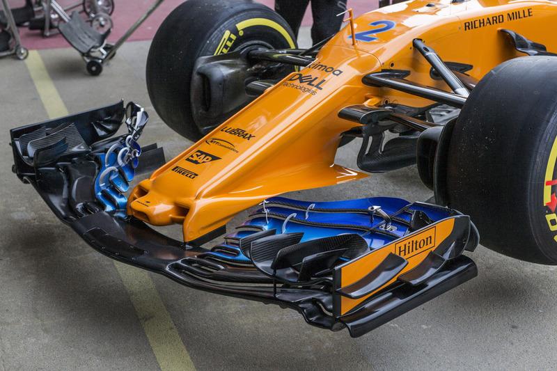McLaren MCL33 detalle de la nariz y el ala frontal