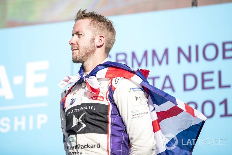 Sam Bird, DS Virgin Racing, on the podum
