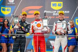Podium: race winner Scott McLaughlin, DJR Team Penske Ford, second place Jamie Whincup, Triple Eight Race Engineering Holden, third place Rick Kelly, Nissan Motorsport