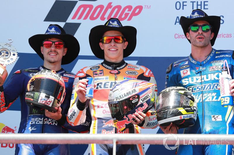 Podium: 1. Marc Marquez, Repsol Honda Team,2. Maverick Viñales, Yamaha Factory Racing, 3. Andrea Iannone, Team Suzuki MotoGP