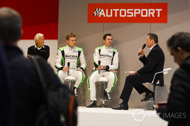 Michal Hrabanek, Pavel Hortek, Pontus Tideman and Emil Axelsson of Skoda talk to Henry Hope-Frost on the Autosport Stage