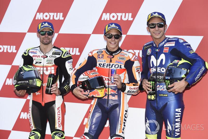 Le top 3 des qualifications : Cal Crutchlow, Team LCR Honda, Marc Marquez, Repsol Honda Team, Valentino Rossi, Yamaha Factory Racing
