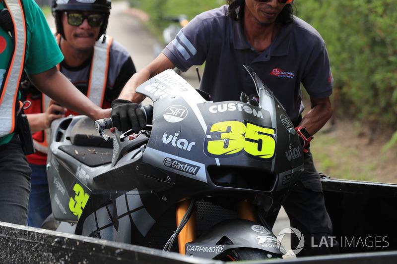 Moto accidentada de Cal Crutchlow, Team LCR Honda